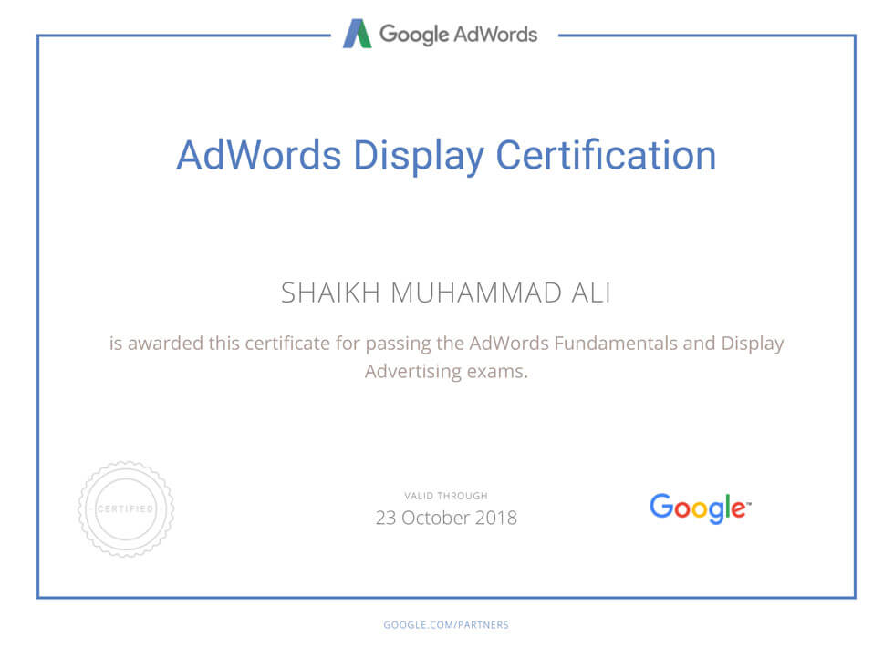 Google AdWords Display Certification Mega Marketing Network
