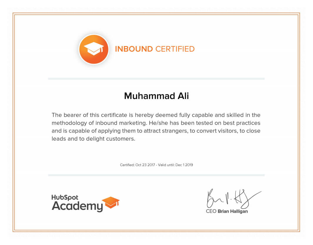 Inbound Certificate Mega Marketing Network