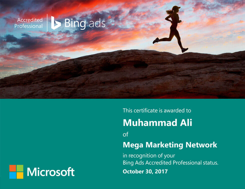 Microsoft Bing Ads Certification Mega Marketing Network