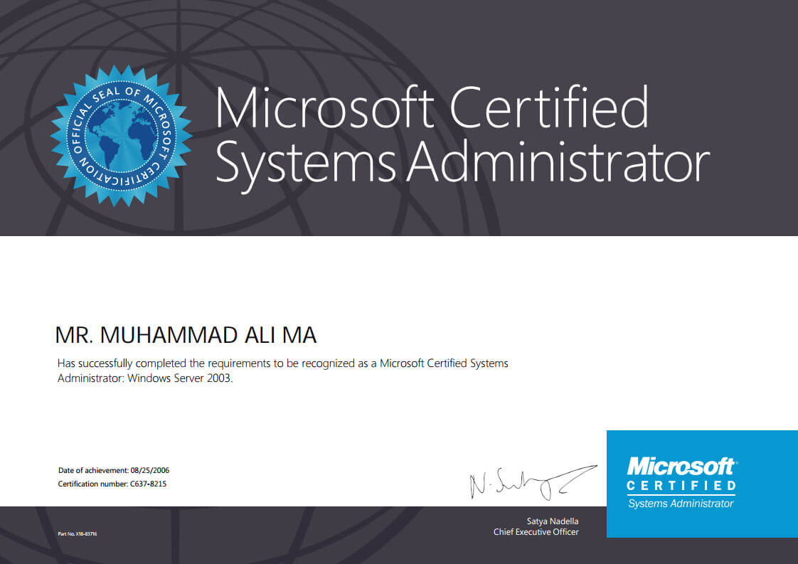 Microsoft Certified System Administrator Mega Marketing Network