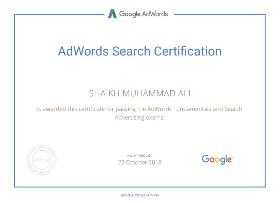 Google AdWords Search Certification Mega Marketing Network